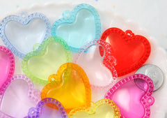 Heart Charms - 35mm Scalloped Transparent Heart Charm Acrylic or Plastic Dangly Hearts Charms or Pendants - 14 pc set