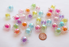 Kawaii Beads - 18mm AB Teddy Bear Glitter Bead Chunky Acrylic or Plastic Beads - 25 pc set