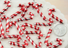 34mm Metallic Candy Cane Christmas Stripe Resin Acrylic or Plastic Charms or Pendants - 7 pc set