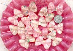 35mm Pink and White Shimmer Ribbons with Star Confetti Bow Ribbon Resin Flatback Cabochons - 6 pc set