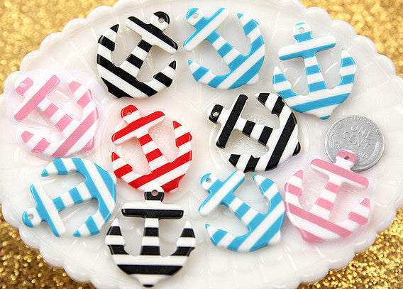 34mm Striped Anchors Resin Charms - 6 pc set