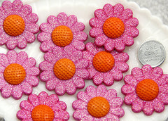 34mm Glittery Sunflower Cabochons - 5 pc set