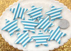 35mm Striped Stars Resin Charms - 5 pc set