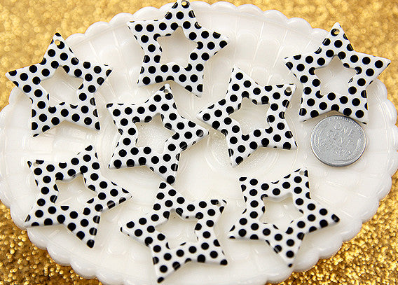 35mm Black and White Polka Dot Stars Resin Charms - 6 pc set