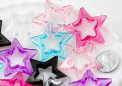 Star Beads - 34mm Transparent Big Outline Star Chunky Acrylic or Resin Beads - 12 pcs set
