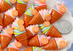 Kawaii Ice Cream - 35mm Swirly Ice Cream Cones with Orange Slice Flat back Resin Cabochons - 6 pc set