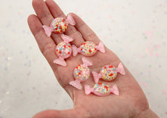 35mm Pretty Pink Candy with Sprinkles Inside Wrapped Bonbon Shape Resin Flatback Cabochons - 6 pc set