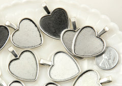 35mm Heart Shaped Silver Color Setting Charm - Zinc Alloy Blank Cabochon Bases or Settings - 6 pc set