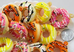 35mm Super Cute Squishy Fake Donut Charms or Cabochons with Sprinkles and Frosting - for making fake food crafts - 4 pc set