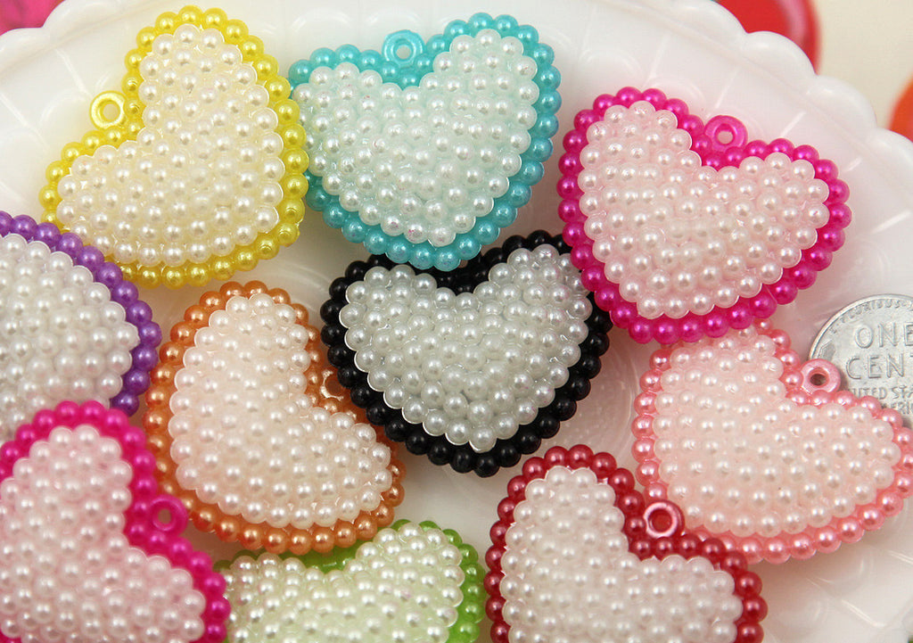 35mm cute pearly shiny heart plastic charms or pendants 7 pc set mozeypictures Choice Image