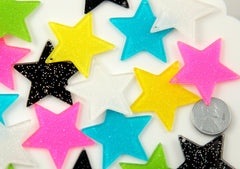 35mm Bright Shimmer Star Charms Acrylic or Resin Glitter Pendants - 6 pc set