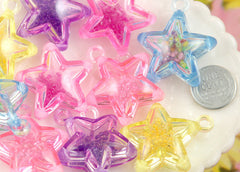 35mm Super Fun Inner Bead Star Plastic Charms or Pendants – 5 pc set
