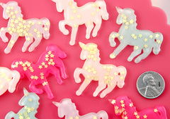 37mm Big Pastel Glitter Unicorn Star Dust Confetti Pony Acrylic or Resin Flatback Cabochons - 5 pc set