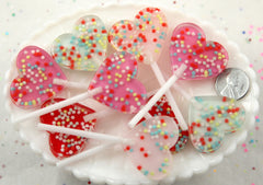 68mm Big Heart Shaped Fake Lollipop with Sprinkles Faux Confetti Candy Acrylic or Resin Cabochons - Pink, Rose, Mint Green, Red - 4 pc set