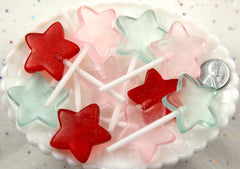 70mm Big Star Shaped Fake Lollipop Kawaii Fairy Magic Wand Candy Acrylic or Resin Cabochons - Mixed Colors - 6 pc set