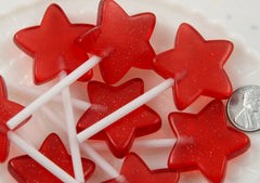 70mm Big Star Shaped Fake Lollipop Kawaii Fairy Magic Wand Candy Acrylic or Resin Cabochons - Cherry Red - 4 pc set
