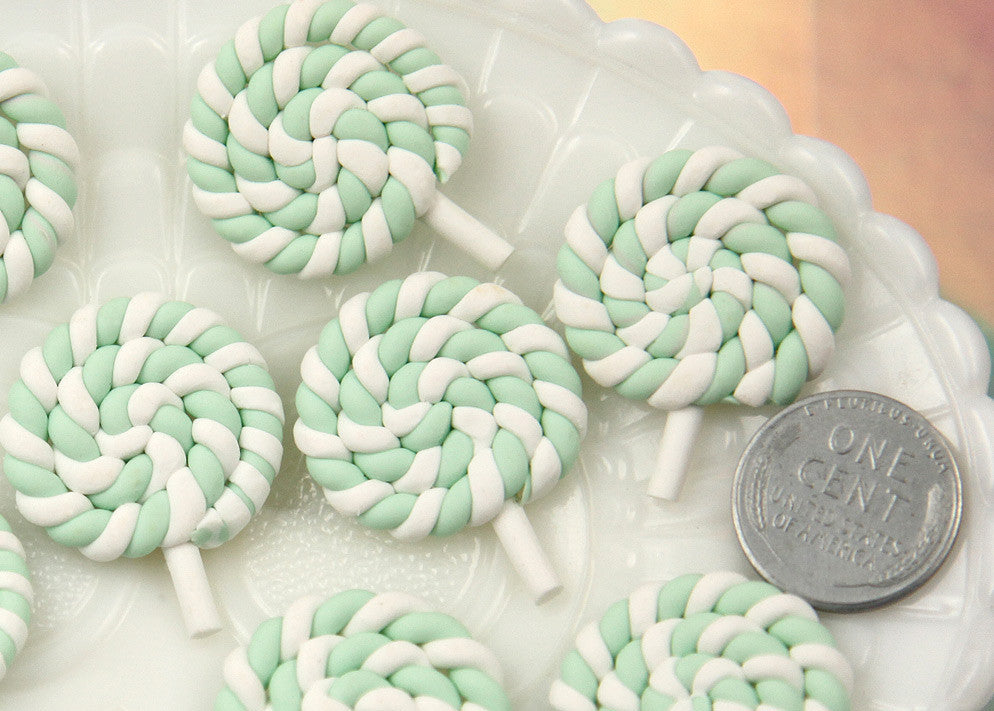 25mm Pastel Mint Green Swirl Lollipop Flatback Clay or Resin Cabochons - 6 pc set