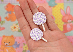 25mm Pastel Light Purple Swirl Lollipop Flatback Clay or Resin Cabochons - 6 pc set