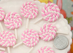25mm Pastel Pink Swirl Lollipop Flatback Clay or Resin Cabochons - 6 pc set