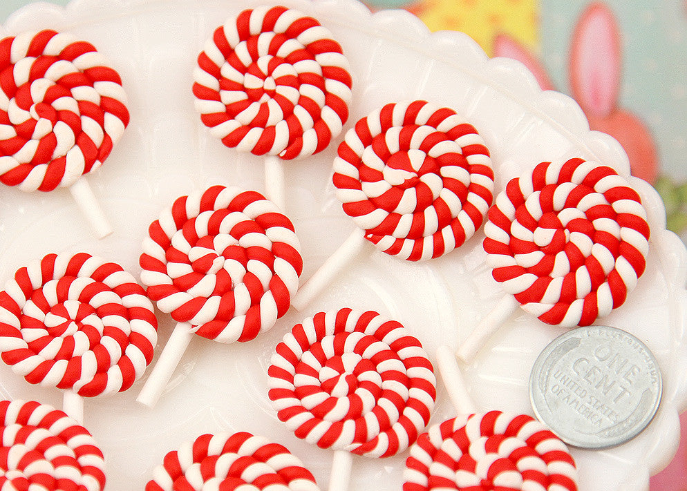 25mm Red Peppermint Swirl Lollipop Flatback Clay or Resin Cabochons - 6 pc set