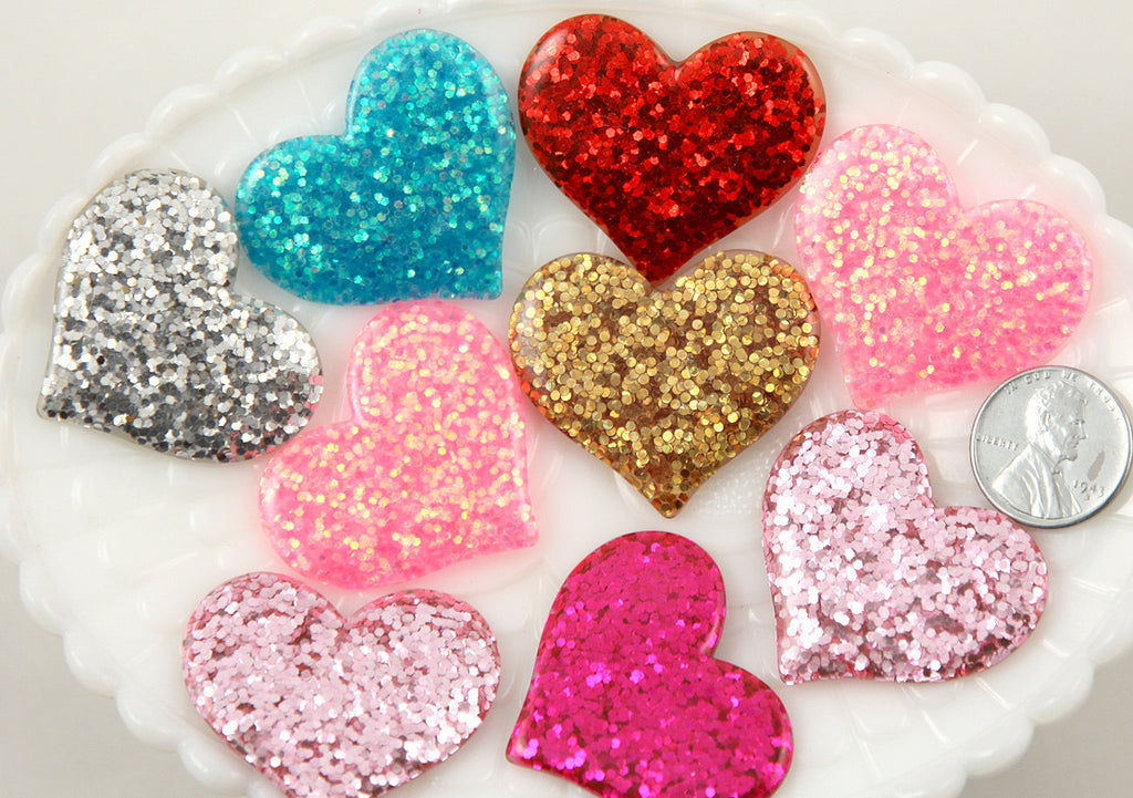 36mm Mixed Colors Set Glitter Hearts Resin Cabochons - 7 pc set