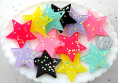 Kawaii Star Charms - 36mm Pastel Stars Stardust Resin Cabochons Charms or Pendants - 6 pc set