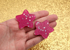36mm Dark Pink Star Dust Resin Cabochons or Charms - 6 pc set