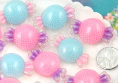 37mm Blue and Pink Sprinkles Confetti Candy Pastel Resin Flatback Cabochons - 6 pc set