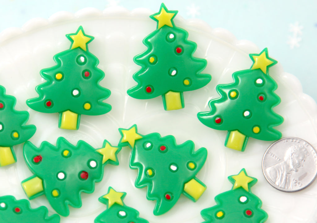 christmas tree cabochon 37mm christmas trees flat back resin cabochon 6 pc set - Flat Back Christmas Tree