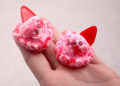 35mm Fake Pink Ice Cream Scoop Decorations or Charms - for making fake food crafts - 3 pc set