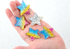 Rainbow Stars - 37mm Glittery Rainbow Star Flatback Resin Cabochons - 6 pc set