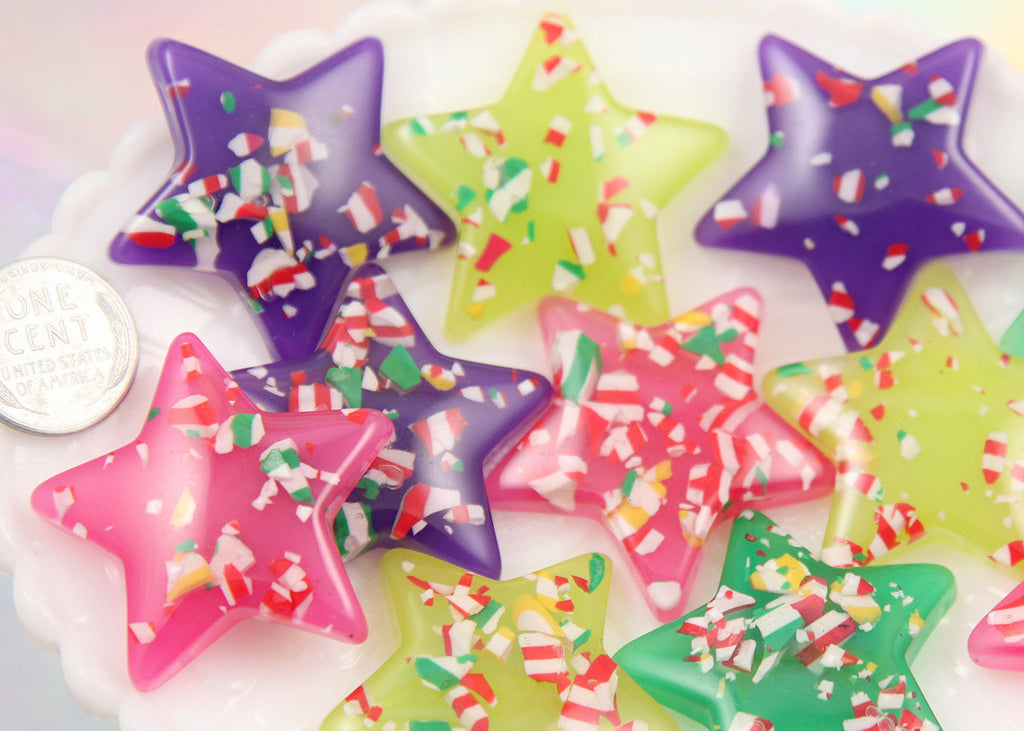 37mm Bright Color Peppermint Candy Confetti Stars Resin Flatback Cabochons - 8 pc set