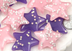 37mm Magic Galaxy Sparkle Confetti Stars Resin Flatback Cabochons - 5 pc set