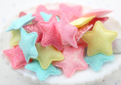 37mm Small Pastel Puffy Glitter Stars Soft Fabric Decorations Appliques or Patches - 5 pc set