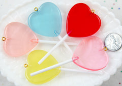 Fake Candy Charms - 83mm Big Heart Shaped Fake Lollipop Faux Candy Acrylic or Resin Charms- 6 pc set