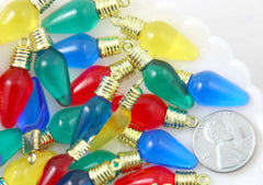 Christmas Light Flat Backs - 38mm Colorful Christmas Light Resin Charms or Cabochons - 18 pc set