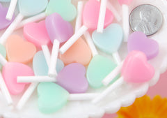 Heart Lollipops - 35mm Pastel Little Heart Shaped Fake Lollipop Faux Candy Acrylic or Resin Cabochons - 5 pc set