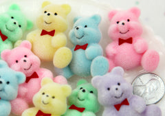 35mm Big Pastel Flocked Teddy Bear Colorful Fuzzy Soft Bears Flatback Resin Cabochons - 5 pc set
