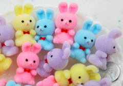 39mm Pastel Flocked Mini Bunnies Colorful Little Miniature Fuzzy Soft Rabbit - 4 pc set