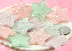 38mm Mixed Color Pastel Star Dust Resin Cabochons or Charms - 8 pc set