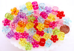 Flower Beads - 16mm Chunky Transparent Flower Large Hole Beads Plastic Acrylic or Resin Beads – 30 pc set
