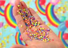 Fake Sprinkles - 48 grams 3mm Candy Peppermint Rainbow Sprinkles Colorful Flakes Polymer Clay or Fimo Cabochons - 48 g bag