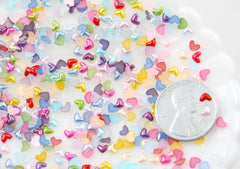 3mm Tiny Pastel Pearl Heart Plastic Flatback Resin Cabochons - 500 pc set
