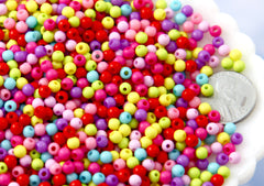 Spacer Beads - 4mm Very Tiny Round Acrylic Beads - Gumball Bubblegum Plastic or Resin Beads - Mixed Colors, Small Size Beads - 1000 pc set