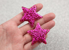 40mm Hot Pink Glitter Stars Resin Charms - 4 pc set
