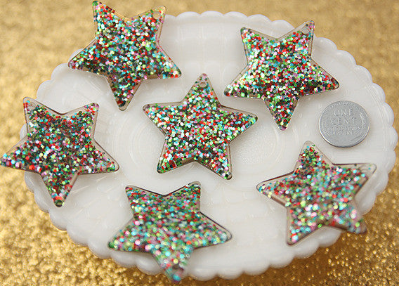 40mm Multi Glitter Stars Resin Charms - 4 pc set