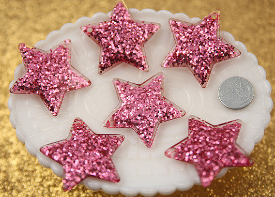 40mm Pink Glitter Stars Resin Charms - 4 pc set