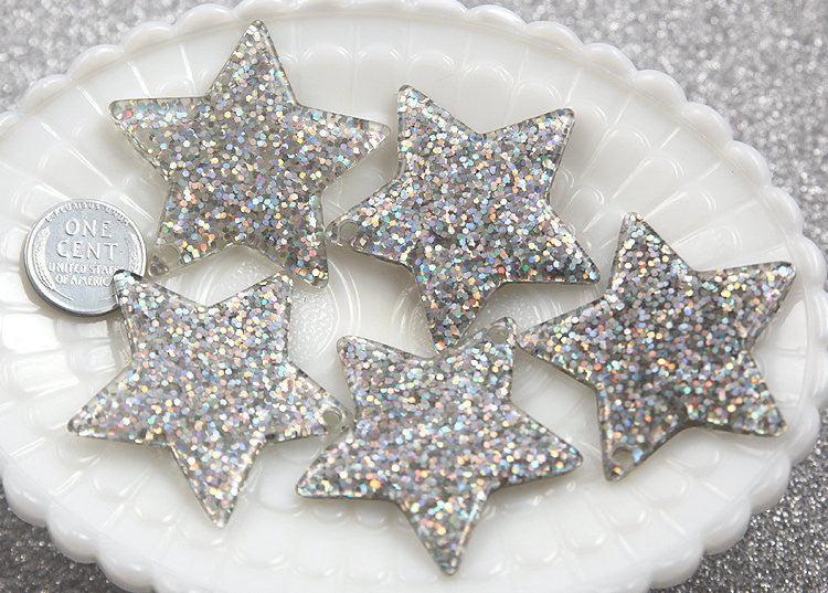 40mm Silver Glitter Stars Resin Charms - 4 pc set