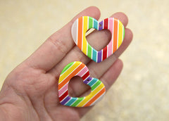 40mm Colorful Resin Heart Charms or Pendants - 6 pc set