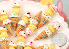 13mm Little Triple Scoop Ice Cream Cone Resin Cabochons - 6 pc set